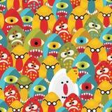 Het gekke naadloze patroon van eierenmonsters. Stock Afbeelding