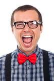 Het gekke nerdmens lachen Stock Afbeelding