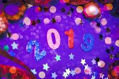 Het gekleurde Gelukkige Nieuwjaar van 2019 stock fotografie