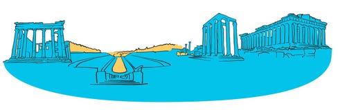 Het Gekleurde Panorama van Athene Griekenland royalty-vrije illustratie