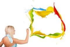 Het gekleurde schilderen stock foto