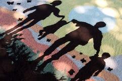 Het gekleurde zandwerk die familiewaarden vertegenwoordigen Stock Foto