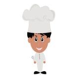 Het gekookt voedsel, gekleed in wit, die een mok houden Royalty-vrije Stock Foto's