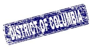 Het gekraste DISTRICT VAN COLOMBIA ontwierp Rond gemaakte Rechthoekzegel royalty-vrije illustratie