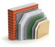 Het gelaagde concept van de bakstenen muur thermische isolatie Royalty-vrije Stock Foto
