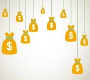 Het geld doet dollars op vectorontwerp als achtergrond in zakken Royalty-vrije Stock Afbeeldingen