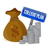 Het geld doet het teken van het universiteitsplan in zakken Stock Foto's
