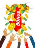 Het geld en de muntstukken van de handengreep stock illustratie