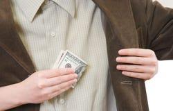 Het geld glijdt weg uit Stock Afbeelding