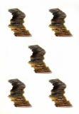 Het geld gouden en zilveren collage van muntstukken Stock Afbeeldingen