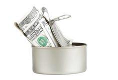 Het geld kan binnen Stock Foto