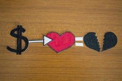 Het geld plus liefde betekent heartbrake Royalty-vrije Stock Foto