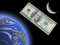 Het geld is satellieten van mensen Stock Afbeeldingen