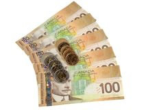 Het geld van Candian dat met muntstukken wordt gewaaid Royalty-vrije Stock Afbeelding