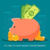 Het geld van de besparing Bedrijfs, financiën en investeringsconcept Vector illustratie Muntstukken, dollarteken Stock Fotografie