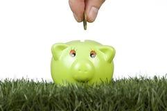 Het geld van de besparing op een piggy-bank stock afbeelding