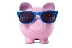 Het geld van de de reisvakantie van het spaarvarken, het concept van pensioneringsbesparingen Stock Afbeeldingen
