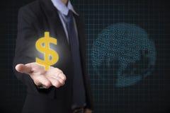 Het geld van de dollartekens van de zakenmanholding met globale financieel Royalty-vrije Stock Foto's