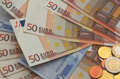 Het geld van de EU backgroud Royalty-vrije Stock Afbeeldingen