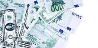 Het geld van de euro en van de dollar royalty-vrije stock afbeelding