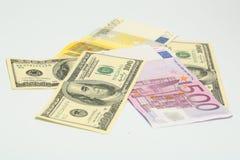 Het geld van de euro en van de dollar stock foto