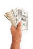 Het geld van de handholding Stock Fotografie