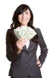 Het Geld van de Holding van de vrouw royalty-vrije stock afbeeldingen