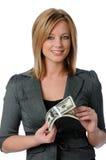 Het Geld van de Holding van de vrouw royalty-vrije stock afbeelding