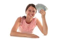 Het Geld van de Holding van de vrouw Royalty-vrije Stock Foto's