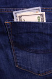 Het Geld van de Holding van handen Steekpenning in de zak van zakenlieden Dollarsstraathond Royalty-vrije Stock Afbeeldingen