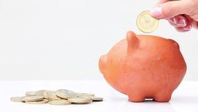 Het geld van de vrouwenbesparing in een traditionele klei piggy B stock footage