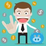 Het geld van de zakenmanbesparing vector illustratie