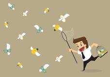 Het geld van de zakenmanvangst, tijd, geld aan kooi Stock Afbeelding