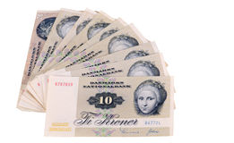 Het geld van het contante geld, tien kronenrekeningen van Denemarken Stock Foto's