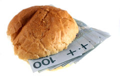 Het geld van het de heksenpoetsmiddel van de sandwich stock fotografie