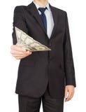 Het geld van het mensenkostuum Stock Foto