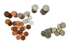 Het Geld van het muntstuk in Stapels stock fotografie