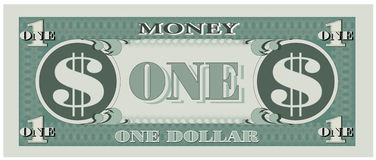 Het geld van het spel - één dollarrekening Stock Afbeeldingen