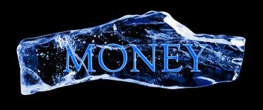 Het GELD van Word dat in het ijs wordt bevroren Royalty-vrije Stock Foto's