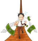 Het geld vliegt vanaf de zak (met spoor) Stock Fotografie