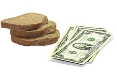 Het geld voor het brood Stock Fotografie