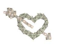 Het geldhart werd gebroken door pijl van liefde Royalty-vrije Stock Fotografie