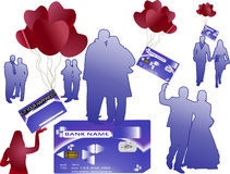 Het geldkaart van de bank met silhouetten Stock Fotografie