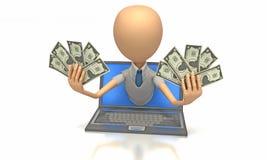Het geldmens van Internet Stock Afbeeldingen