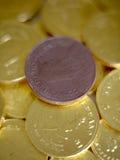 Het geldmuntstukken van de chocolade Stock Foto