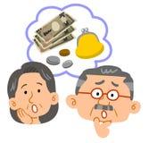 Het geldproblemen van het hogere paar, gezichtsuitdrukking royalty-vrije illustratie