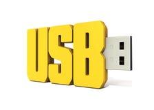 Het gele die geheugen van de usbflits van woord wordt gemaakt - usb Stock Foto