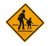 Het gele die teken van de schoolstreek op wit wordt geïsoleerd Stock Afbeelding