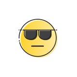 Het gele het Glimlachen van de de Slijtagezonnebril van het Beeldverhaalgezicht Pictogram van de de Mensenemotie Royalty-vrije Stock Afbeelding