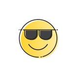 Het gele het Glimlachen van de de Slijtagezonnebril van het Beeldverhaalgezicht Pictogram van de de Mensenemotie Positieve Stock Foto